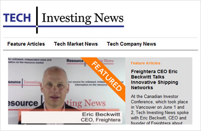 Eric Beckwitt, CEO, Freightera talking to the press