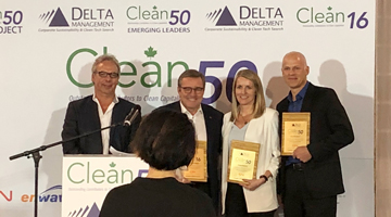 Freightera CEO Eric Beckwitt receiving Clean50 Award at the ceremony in Toronto