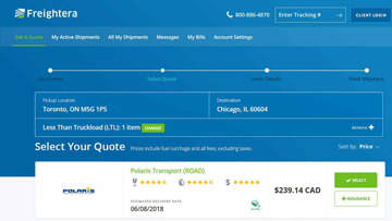 Freightera LTL freight quotes results screenshot