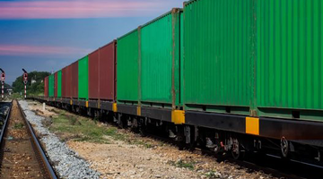 Freight containers on rail road