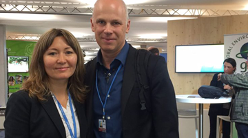Eric Beckwitt and Zhenya Beck of Freightera at UNFCCC 2017 Climate Change Conference in Bonn, photo