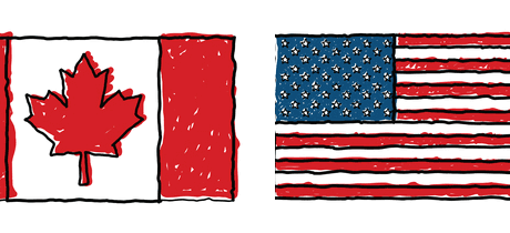 Canada and US flags symbolizing friendship and trade relationship between countries