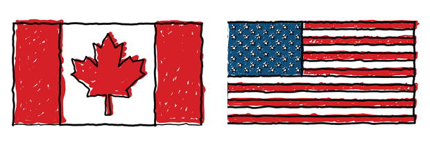 Canada And Us Flags Symbolizing Friendship Trade Relationship Between Countries