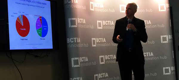 Eric Beckwitt, CEO of Freightera, presenting industry-changing freight platform. Photo curtsey of BCTIA