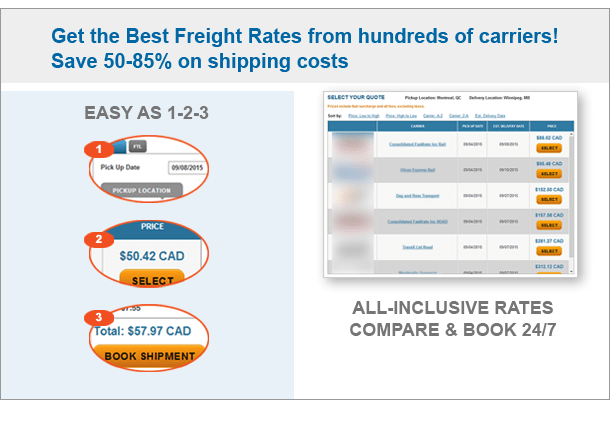Instant online freight quotes