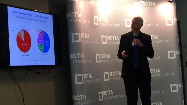 Eric Beckwitt, CEO of Freightera, presenting industry-changing freight platform. Photo courtesy of BCTIA