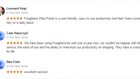 Google reviews Freightera November 2015