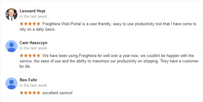Google reviews Freightera November 2015