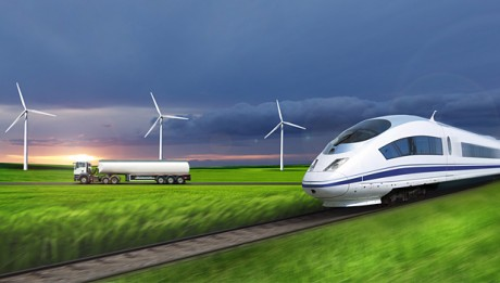 Future electric rail photo, truck, wind turbines