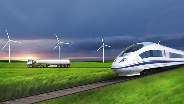 Future electric rail photo, truck, wind turbines