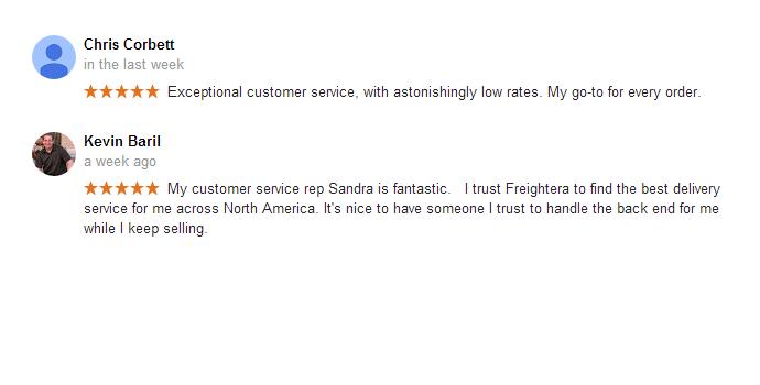 Freightera Google reviews December 2015