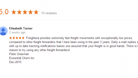 5-star Google review for Freightera