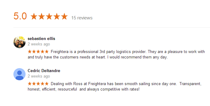 New 5-star Google review for Freightera