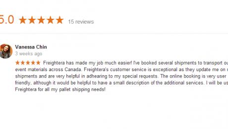 Freightera 5-Star Google Reviews