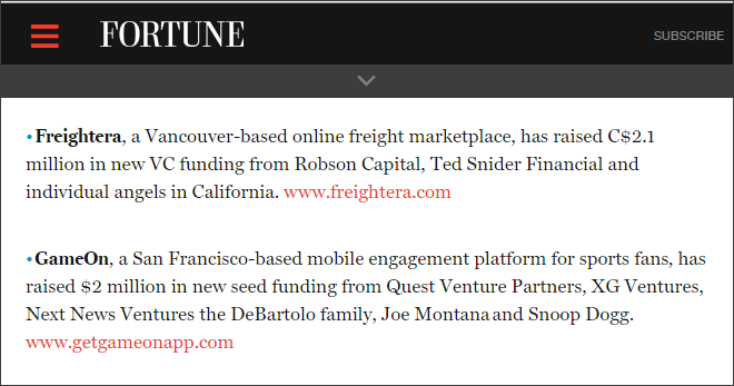 Freightera mentioned in Fortune.com