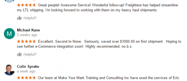 Freightera 5-star reviews in January 2017