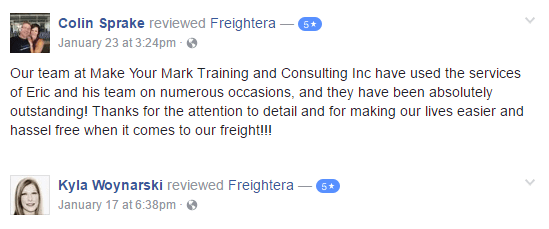 Freightera Facebook 5 star reviews - January 2017
