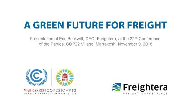 Green future of freight: Eric Beckwitt at COP22