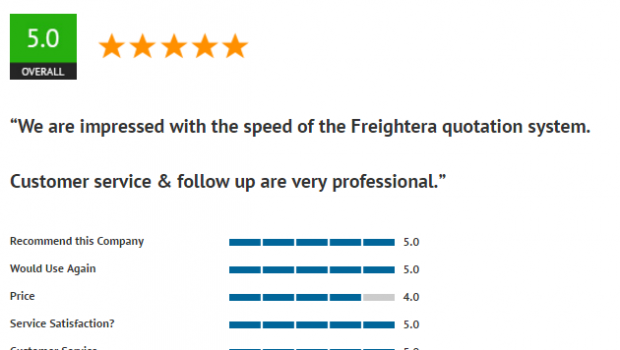 Freightera 5 star review April 2017