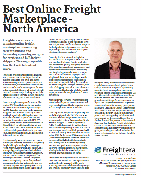 Article: Best Online Freight Marketplace in North America by Transport News INTL