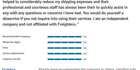 5-star reviews in July 2017 Freightera