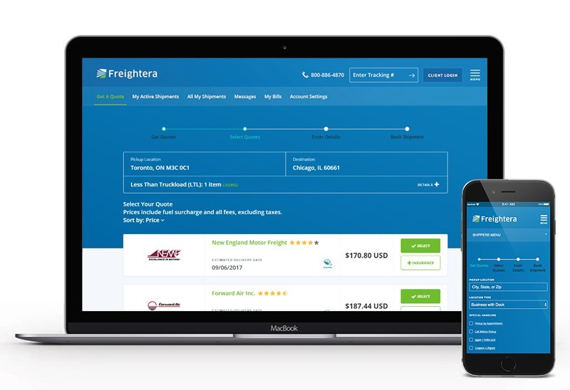 Freightera's New Redesign Takes Instant Online Freight