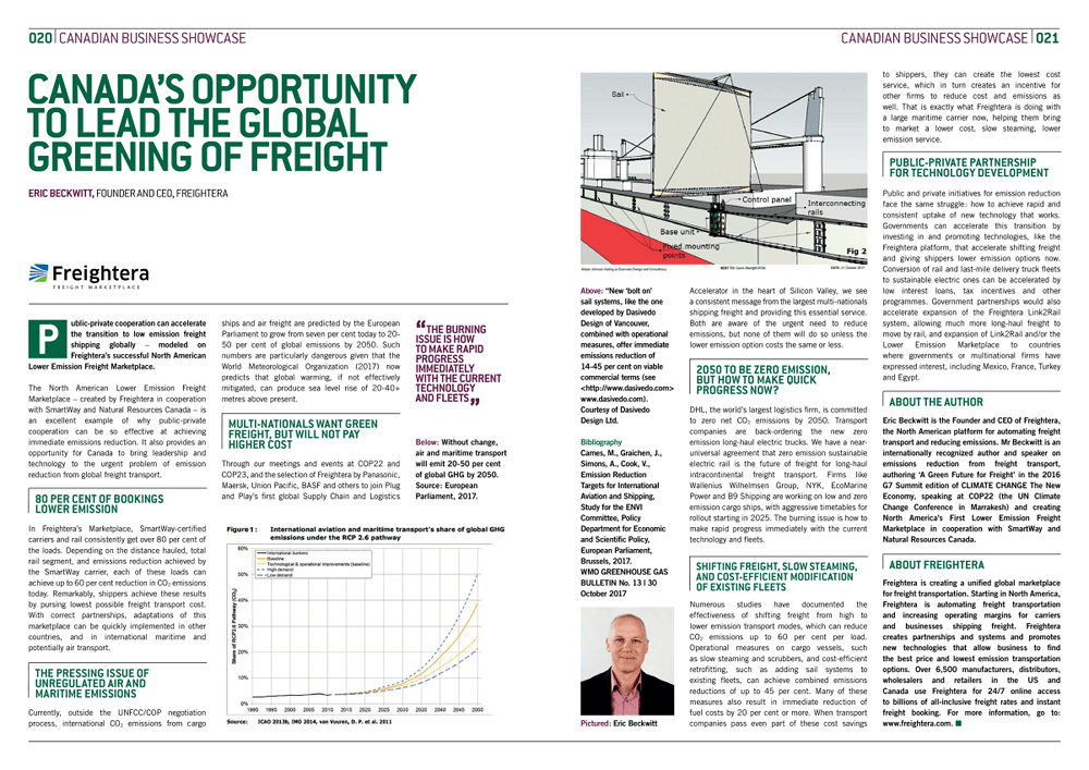 Canada's Opportunity to Lead the Global Greeening of Freight - Freightera CCTNE G7 2018 thought leadership article, by Eric Beckwitt, CEO