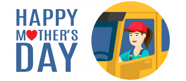 Happy Mothers Day card. Moms in freight trucking - delivering loads.