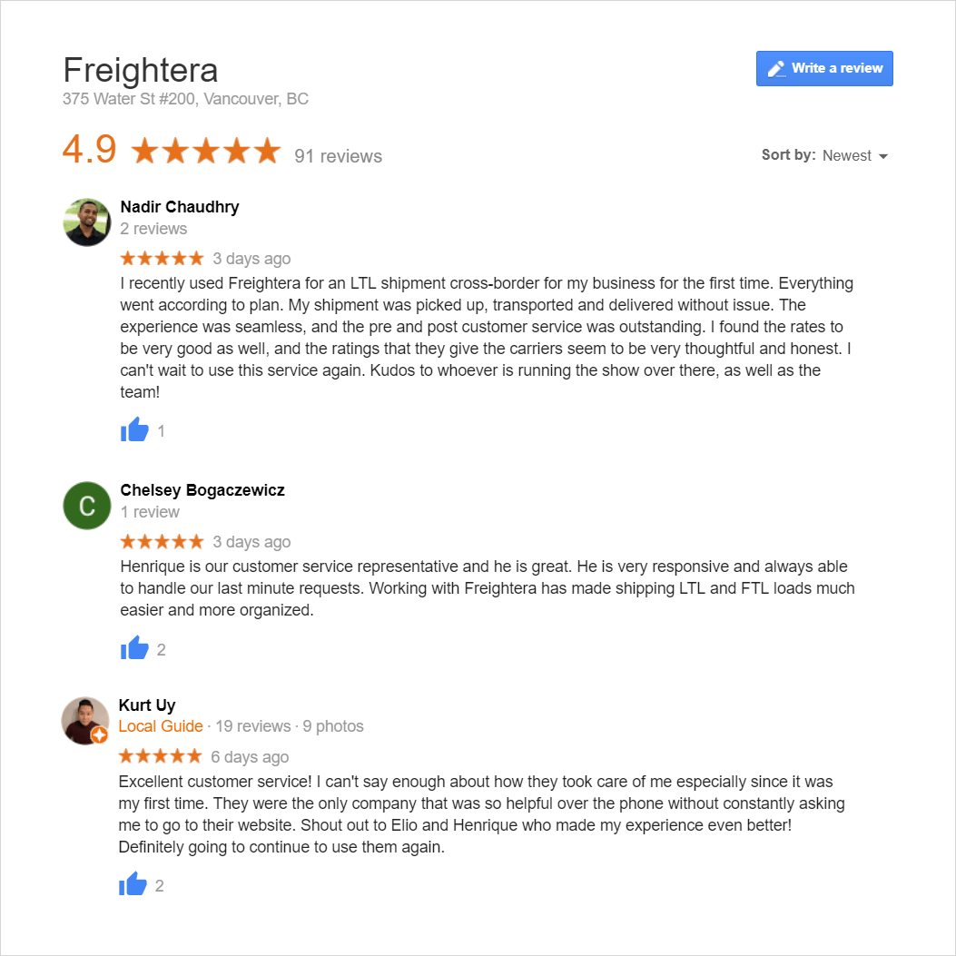 Freightera Latest Reviews January and February 2019