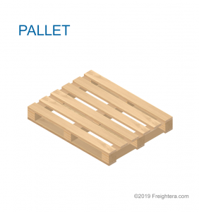 A pallet: flat structure made of wood, plastic, composite, or metal, on which freight is secured for shipping