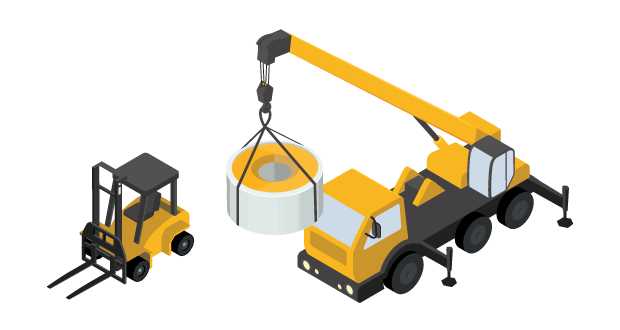 Loading and unloading freight with forklift or crane