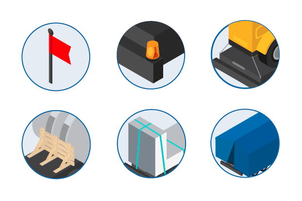 Flags, rotating lights, tie-down points, bracing, strapping, tarping - required for heavy freight shipping