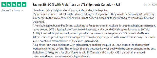 Freightera shipper review