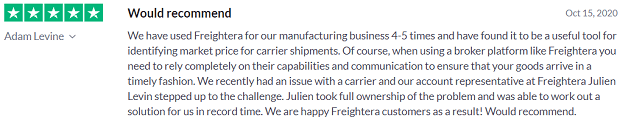 Shipper review Freightera