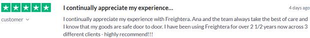 Freightera customer feedback