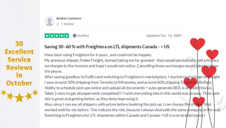 October 2020 Freightera reviews
