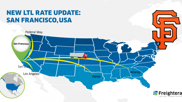 New LTL Freight Rate Update within USA and Cross-Border: San Francisco Map