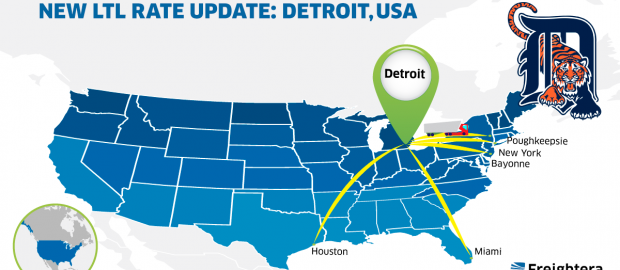 New LTL Rate Update in USA Detroit Map