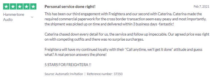 Client Review freightera