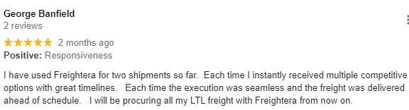 Client review Freightera George B