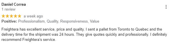 Daniel customer review Freightera