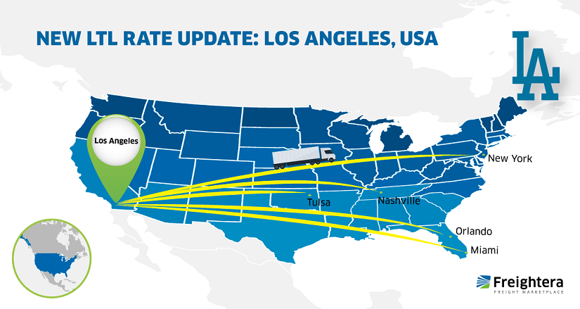 LTL Freight Rate Update Los Angeles California USA Map
