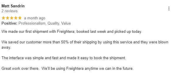 Matt S customer review Freightera