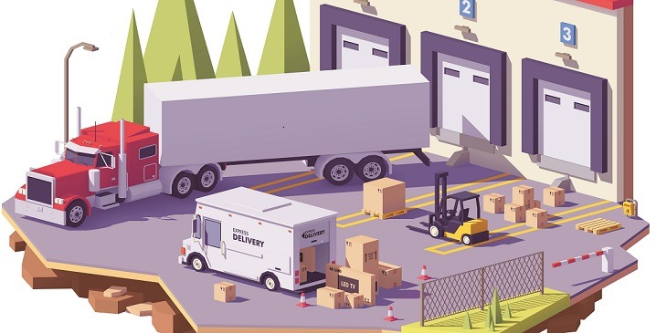 Illustration of freight loading and unloading