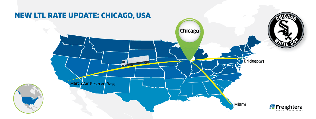 The USA map with major cities - Chicago