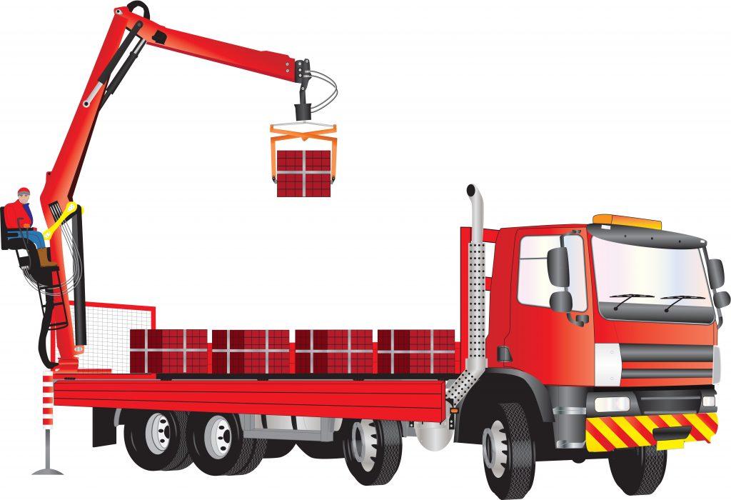 Illustration depicting a crane truck