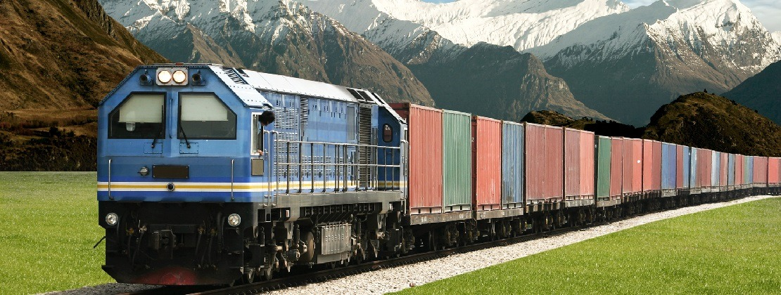 Freight train moving through nature