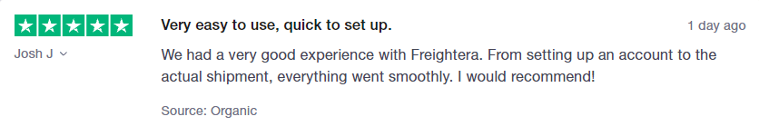 Freightera customer review