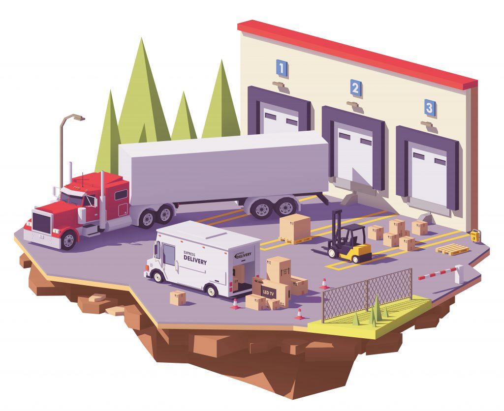Illustration showing freight loading and unloading